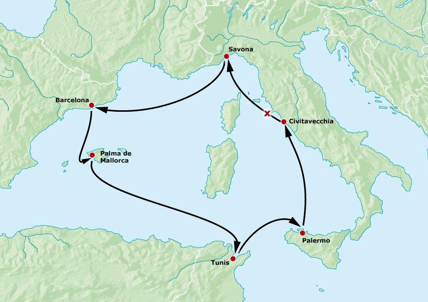 Karte - Geplante Route der Costa Concordia