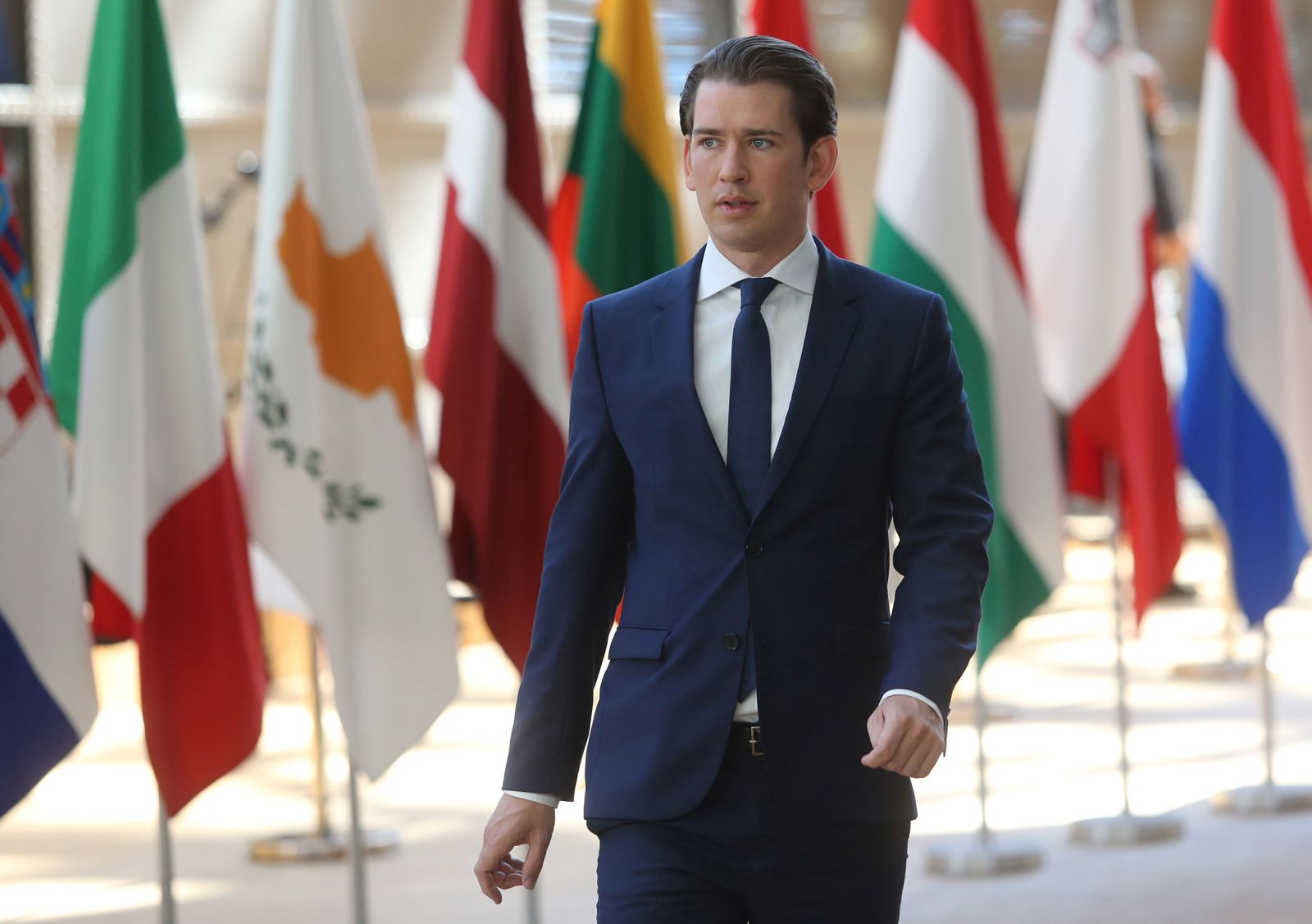 Austria's Chancellor Kurz arrives at an EU leaders summit in Brussels