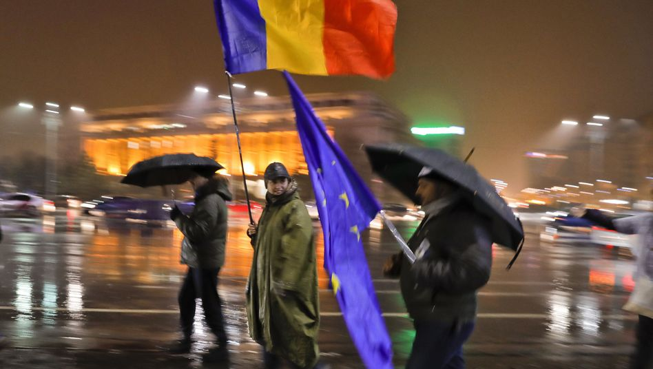 Demonstranten am Wochenende in Bukarest