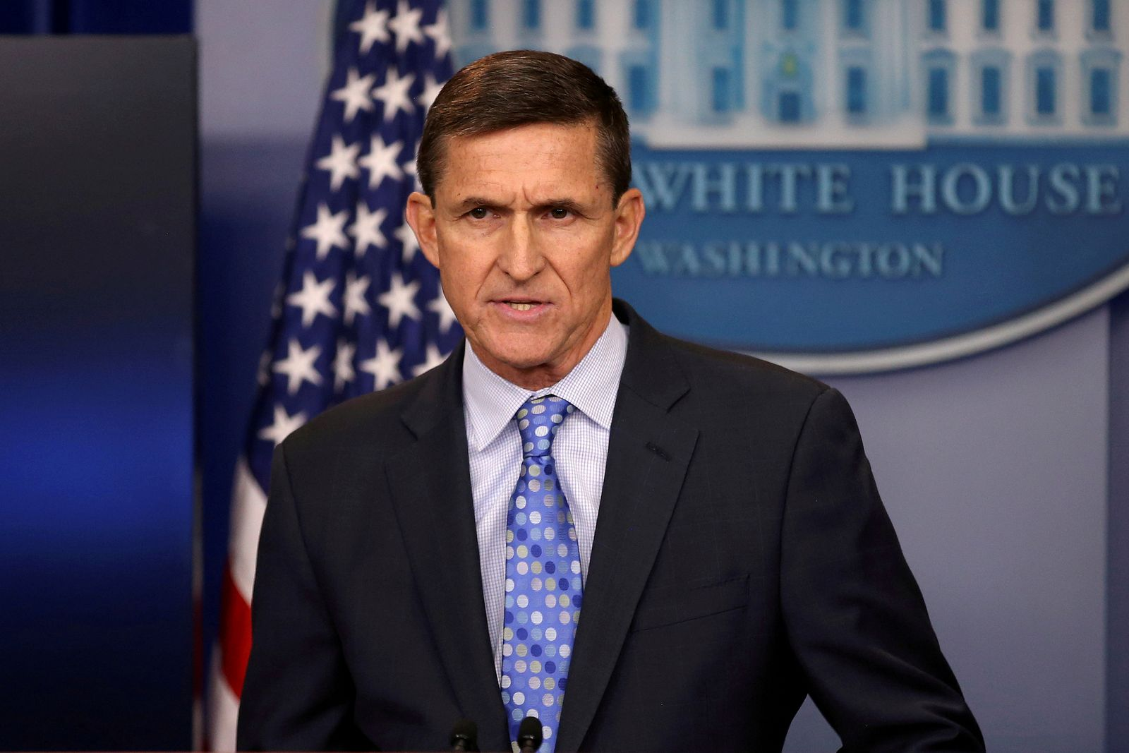 FILE PHOTO: Then national security adviser General Michael Flynn delivers a statement daily briefing at the White House in Washington
