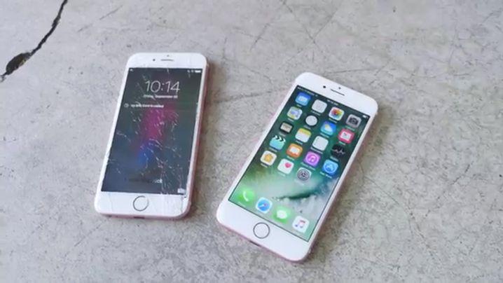iPhone 6s (l.) und iPhone 7 nach einem Falltest