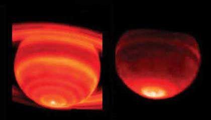 Wärmekappe: Links ist die Troposphäre, rechts die höhere Stratosphäre zu sehen