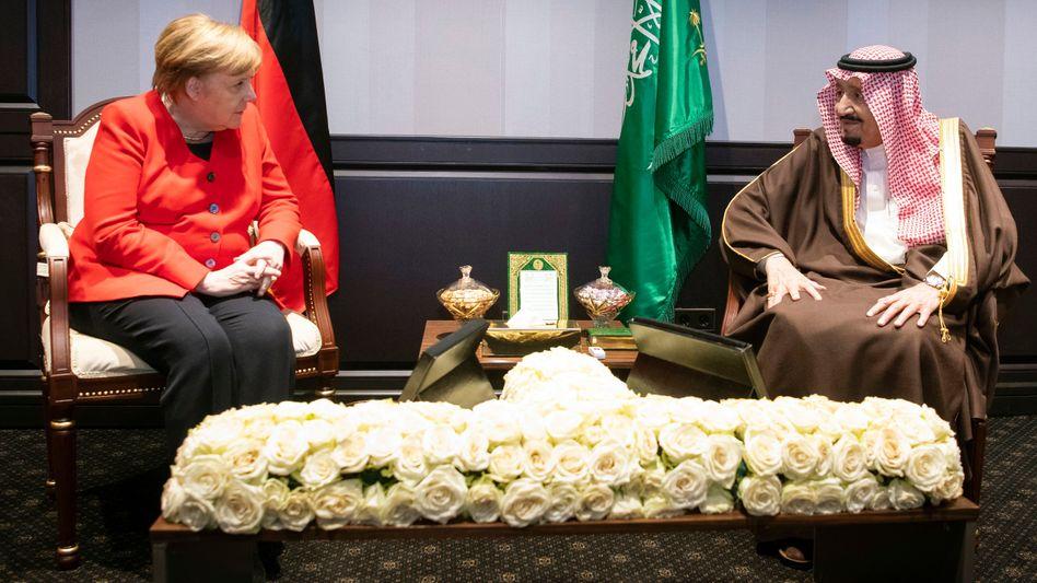 Angela Merkel und König Salman bin Abdelaziz Al Saud von Saudi-Arabien