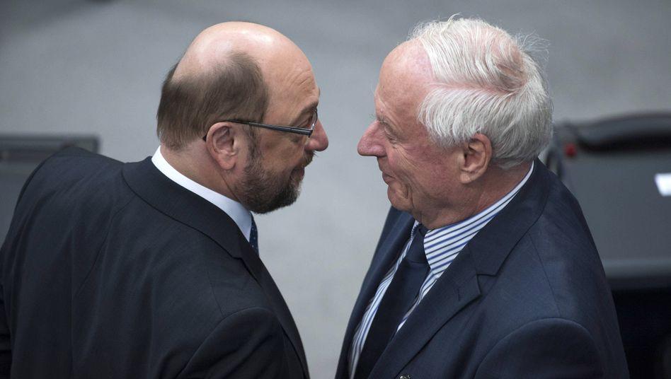 SPD-Chef Schulz, Linken-Kopf Lafontaine