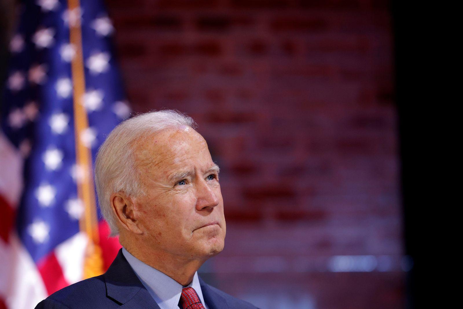 Democratic U.S. presidential nominee Biden takes part in a health briefing in Wilmington
