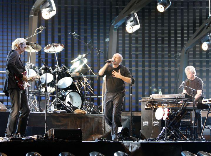 Genesis mit Mike Rutherford, Phil Collins and Tony Banks (v.l.) bei Proben zu ihrer letzten Tour im Jahr 2007