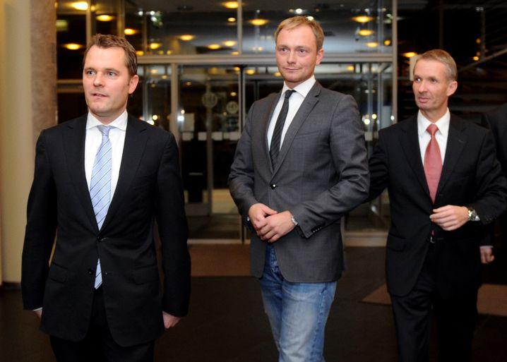FDP-Politiker Bahr, Lindner und Papke (2012)
