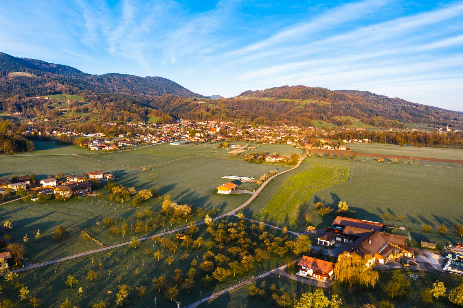 Germany, Bavaria, Bad Feilnbach, Aerial view of countryside town in spring SIEF09834