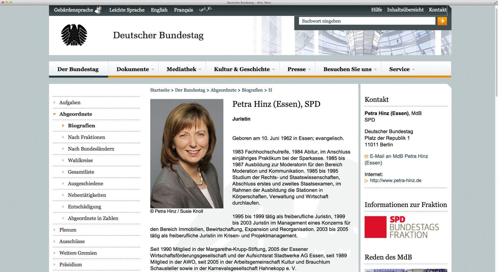 EINMALIGE VERWENDUNG NUR ALS ZITAT Screenshot/ Petra Hinz/ Deutscher Bundestag/ Archive