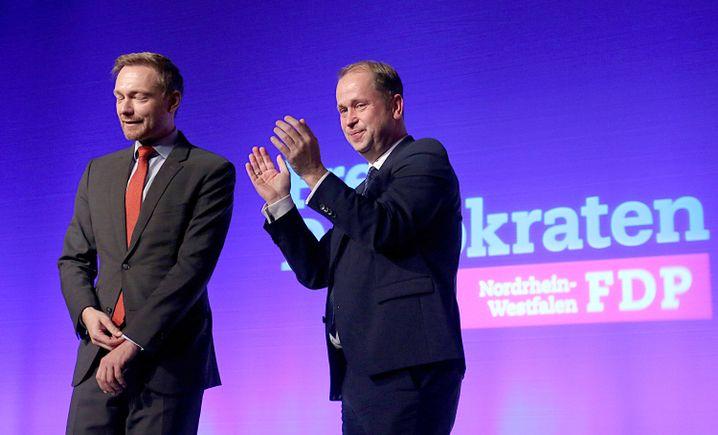 FDP-Landeschef von NRW, Stamp, FDP-Bundeschef Lindner (links)