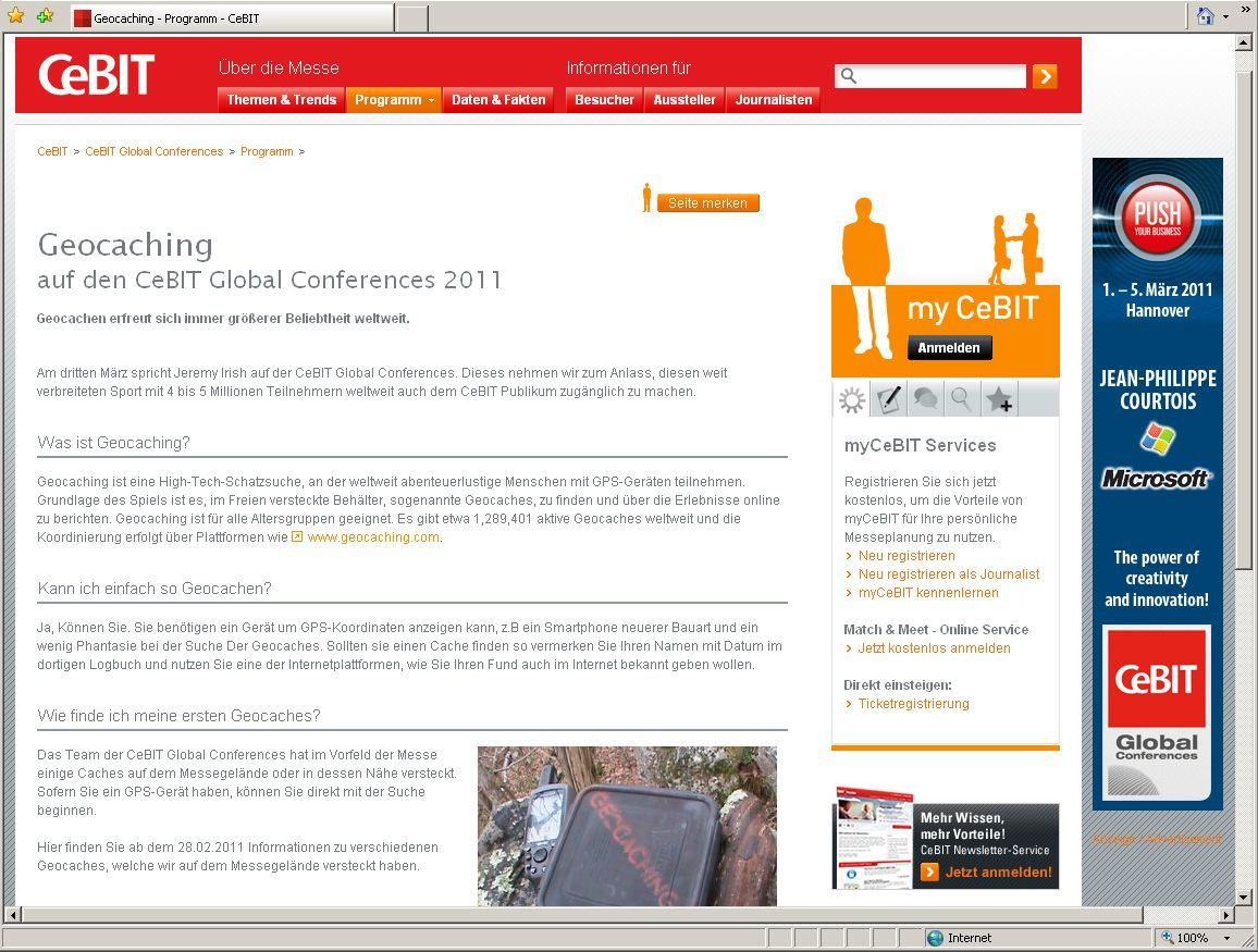 Screenshot Cebit Geocaching