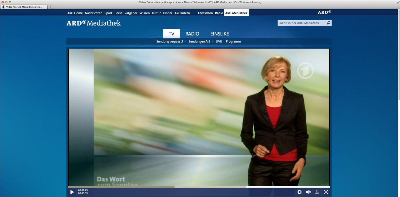 NUR ALS ZITAT Screenshot/ Das Wort zum Sonntag/ Verena Maria Kit