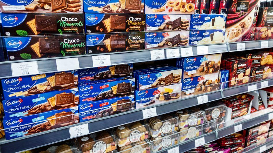 Bahlsen-Kekse in Londoner Supermarktregal