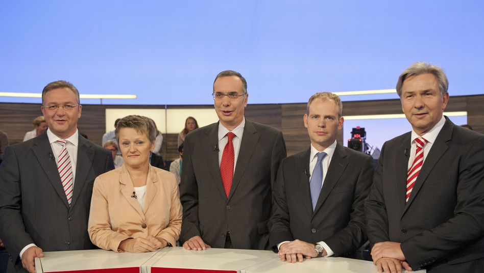 Berliner Spitzenkandidaten Henkel, Künast, Wolf, Mayer, Wowereit: Wer regiert mit wem?