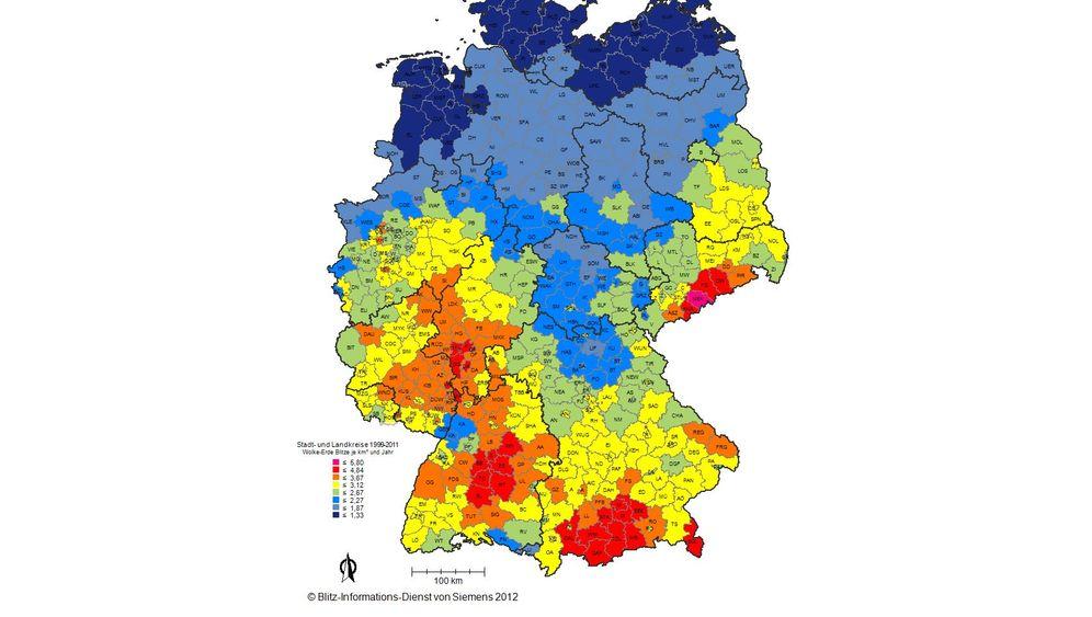 Neuer Atlas: Blitzgefahr in Deutschland