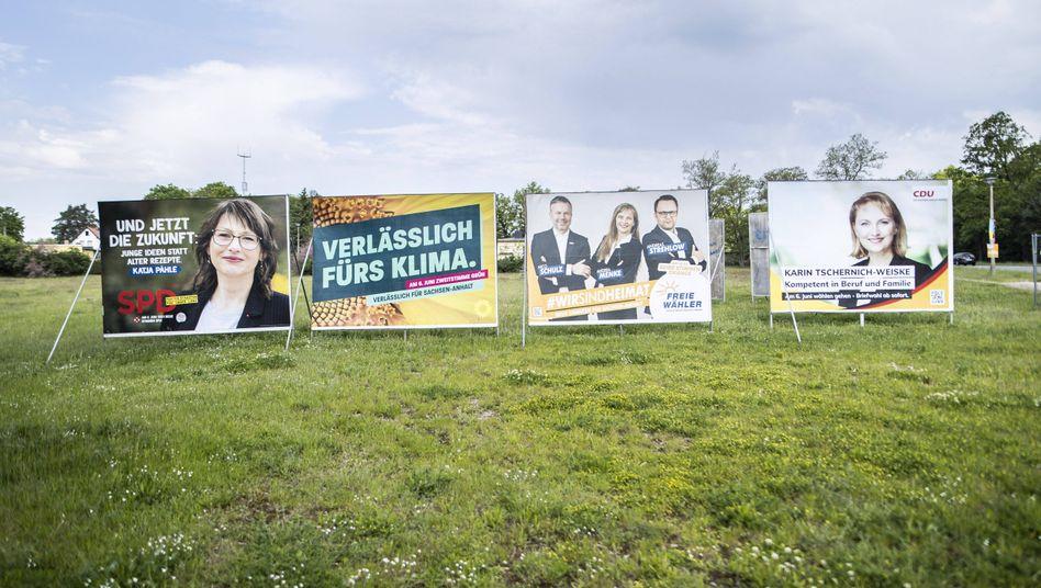 Wahlplakate in Sachsen-Anhalt: »In den Ostbundesländern sind Parteibindungen schwächer«