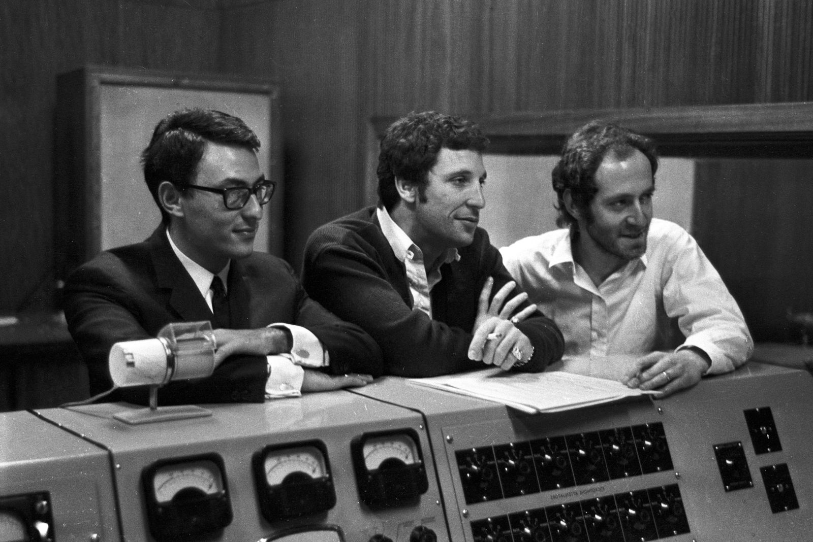 British pop singer Tom Jones ( centre) at a West London recording studio today where he recorded the theme tune of the