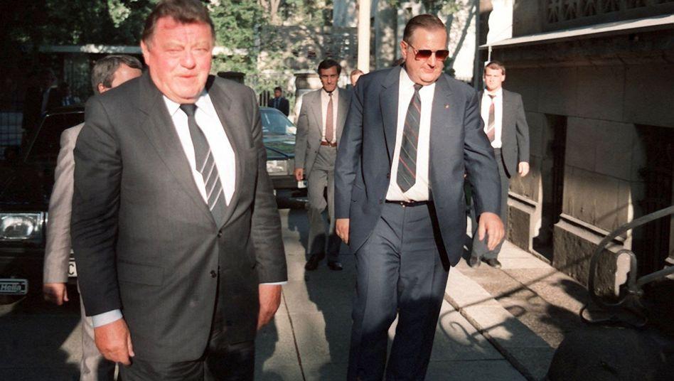 Franz Josef Strauß mit Alexander Schalck-Golodkowski 1985