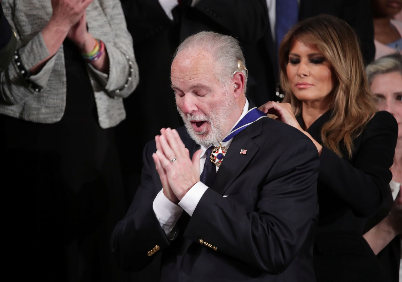 FILE PHOTO: First lady Melania Trump places Presidential Medal of Freedom to Limbaugh during U.S. President Donald Trump's State of the Union address at the U.S. Capitol in Washington