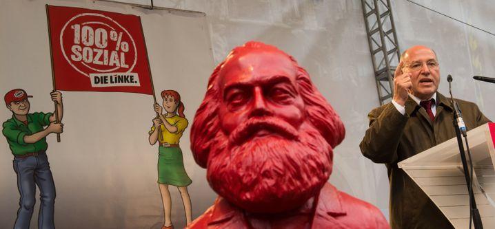 Vereint im Wahlkampf: Marx und Gysi