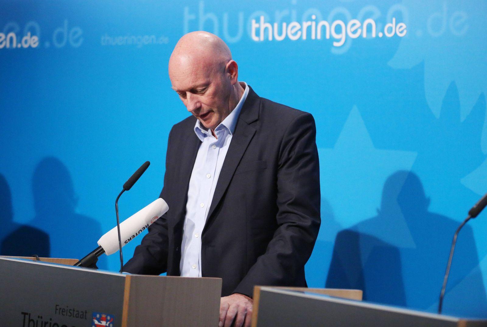 News Bilder des Tages PK Kemmerich 06.02.2020 , Erfurt, Thüringer Staatskanzlei, Pressekonferenz Thomas L. Kemmerich (FD