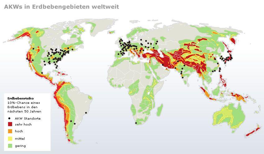 Karte AKWs in Erdbebengebieten weltweit