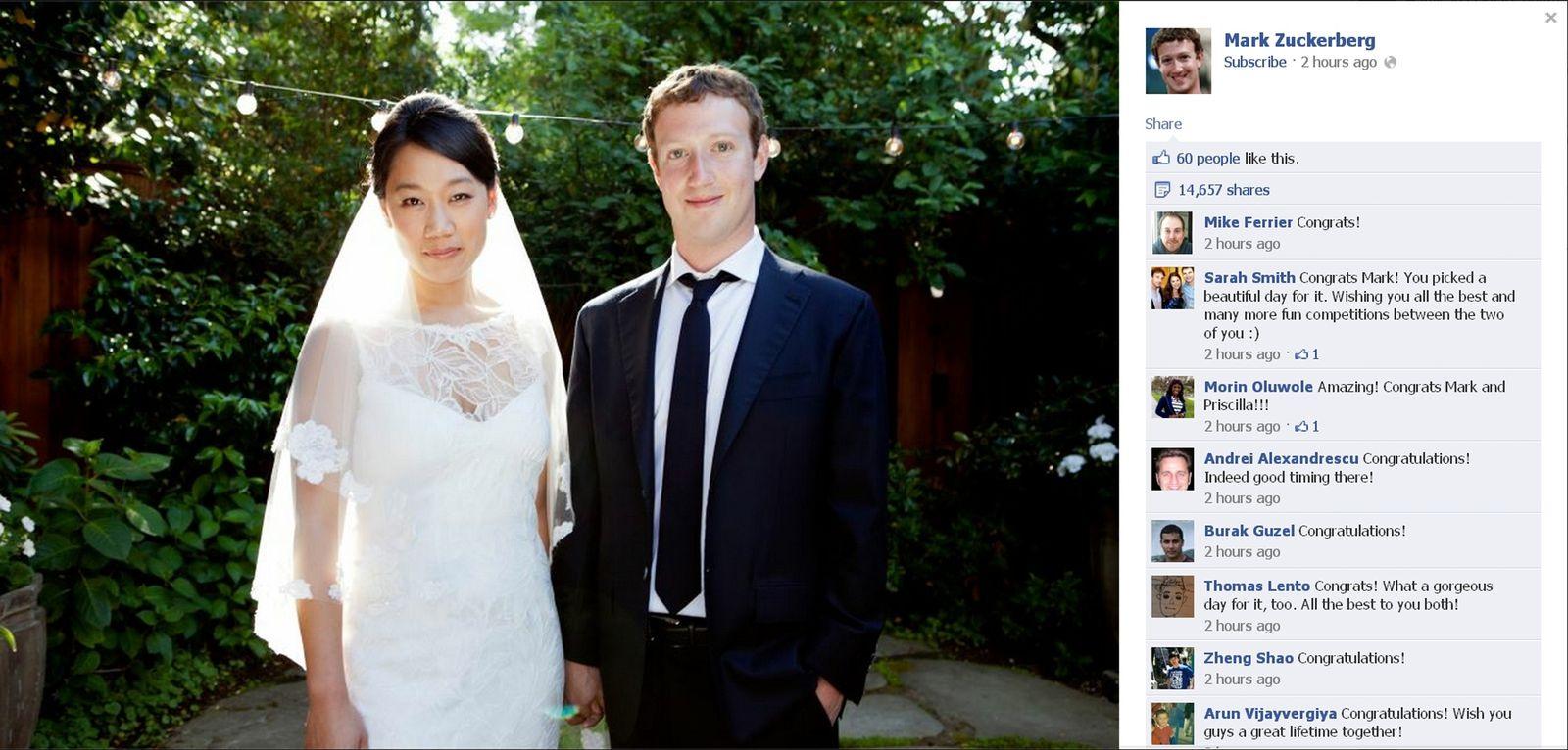 Zuckerberg/ Priscilla Chan/ Hochzeit/ Facebook