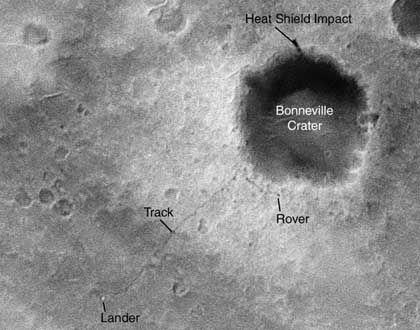 Nahaufnahme: Rover als schwarzer Punkt
