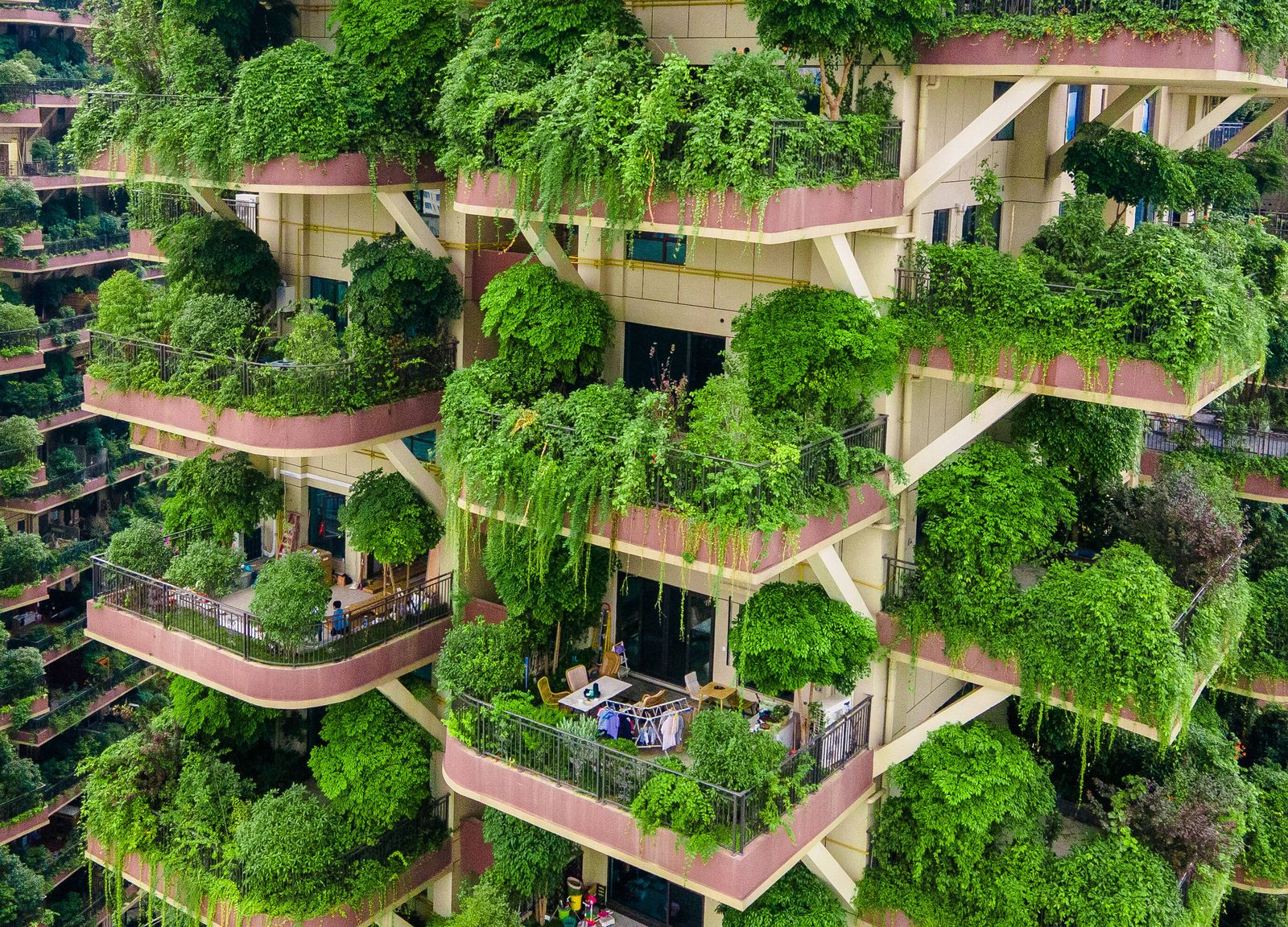 CHENGDU, CHINA - SEPTEMBER 15: Aerial view of buildings covered with plants at a residential community on September 15,