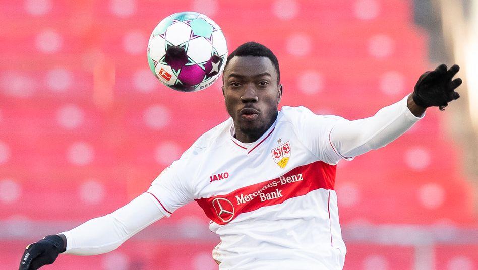 VfB-Stürmer Silas Katompa Mvumpa im Spiel gegen Hertha BSC, Februar 2021