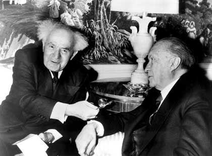 Israeli Prime Minister David Ben-Gurion (left) meets the German Chancellor Konrad Adenauer in New York in this 1960 archive photo.