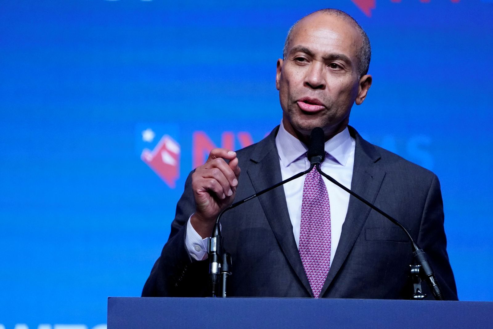 FILE PHOTO: Deval Patrick appears on stage at a First in the West Event at the Bellagio Hotel in Las Vegas, Nevada