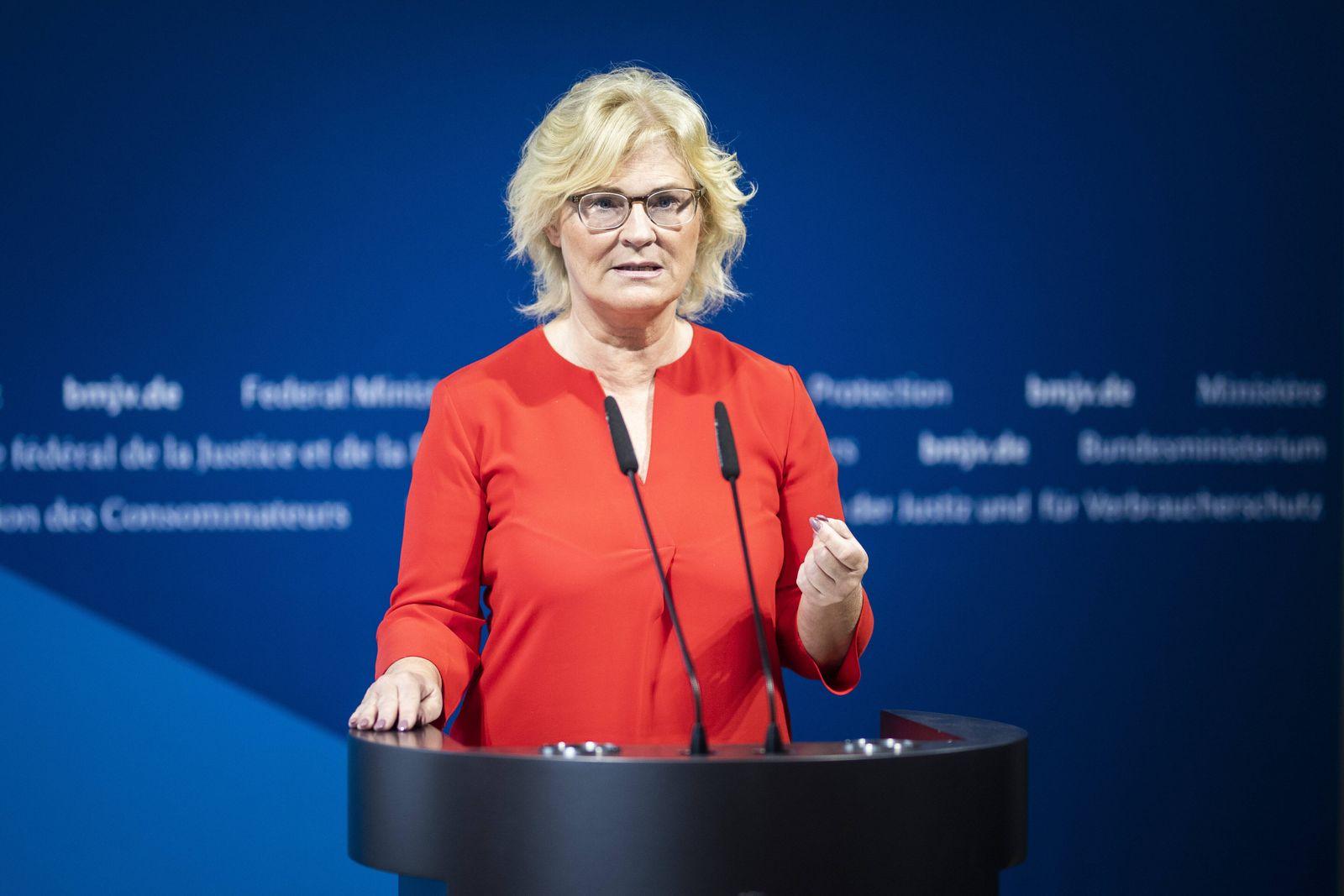 Christine Lambrecht, Bundesministerin fuer Justiz und Verbraucherschutz, aufgenommen im Rahmen eines Statements zum The