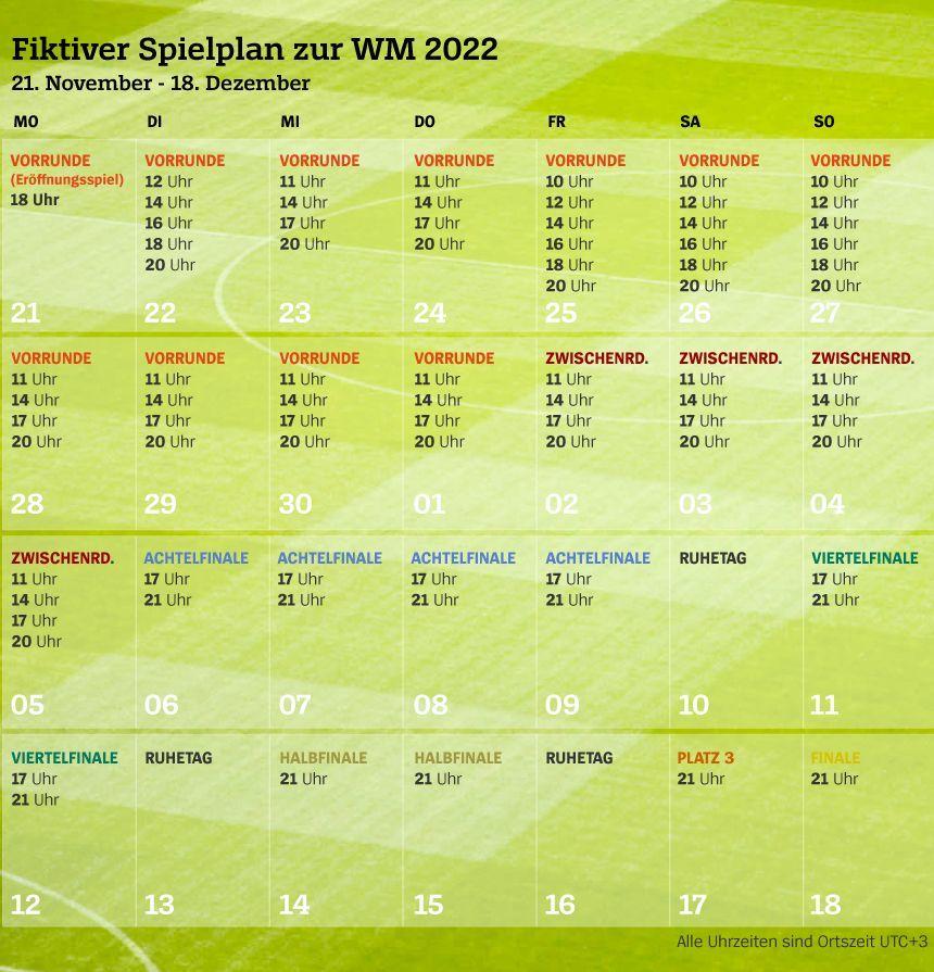 Fiktiver Spielplan WM 2022 Kalender