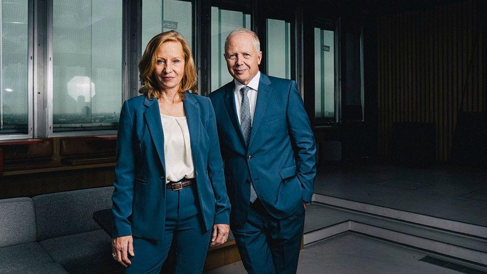 Patricia Schlesinger und Tom Buhrow, IntendantInnen rbb und WDR, fotografiert beim rbb Berlin