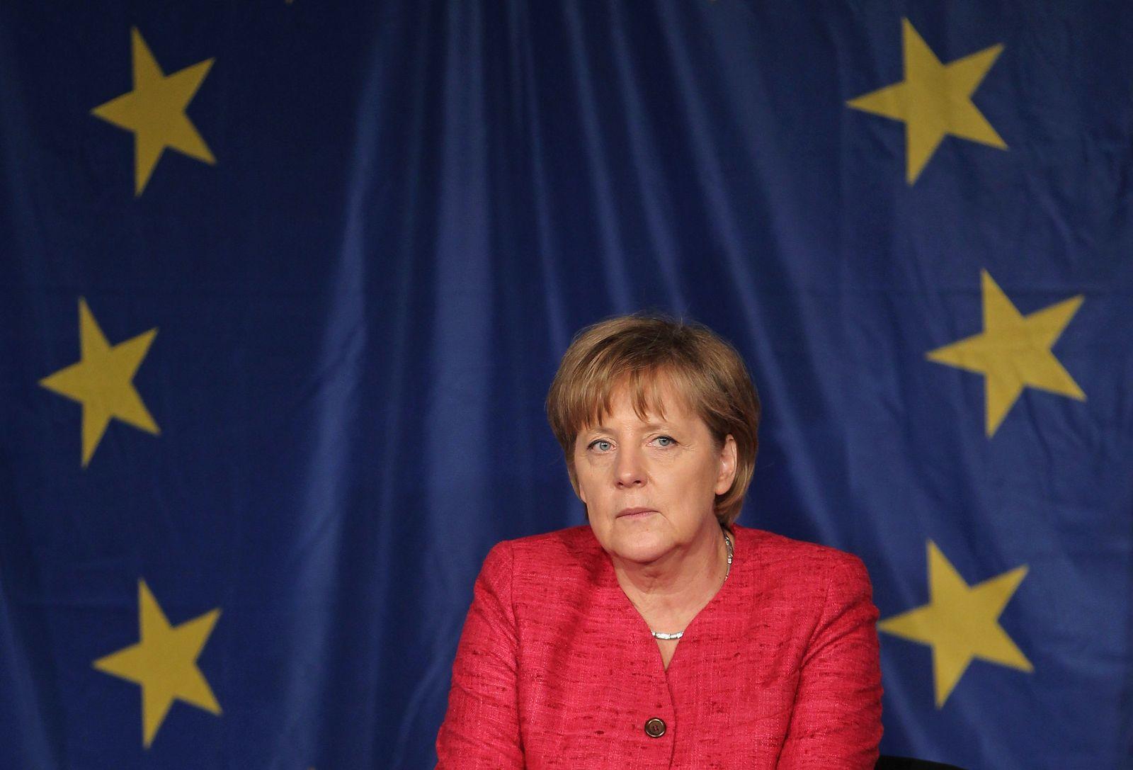 Merkel EU flag