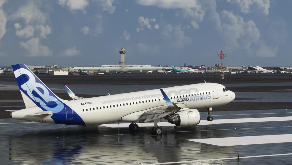 Und los geht es: Start eines Airbus im neuen Flugsimulator