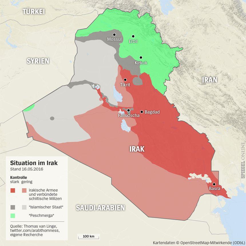 Grafik Karte Irak - Stand 16.05.2016