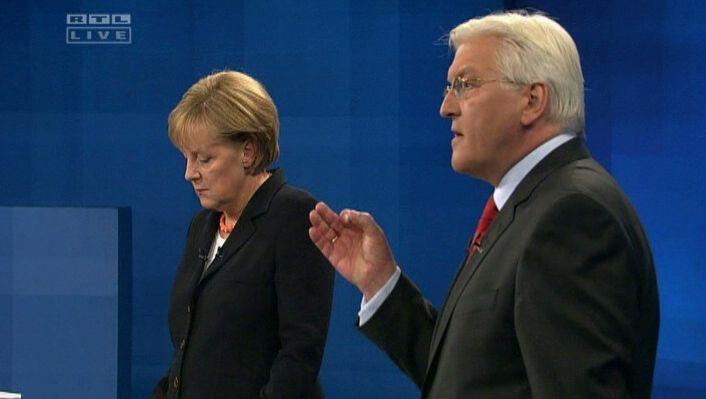 Merkel und Steinmeier (beim TV-Duell am 13. September): Keine Lust auf Diskussionsrunden