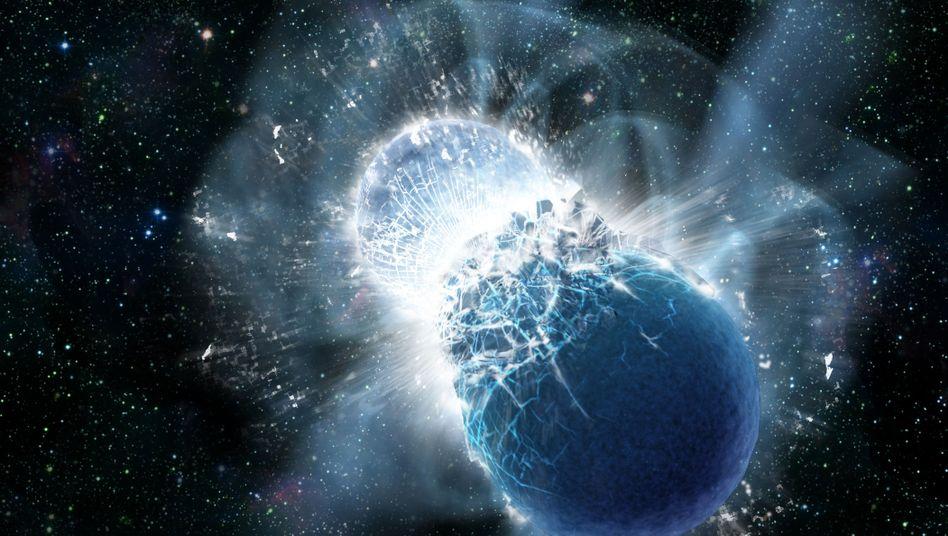 Zwei Neutronensterne kollidieren (Illustration): Ursprung seltener schwerer Elemente