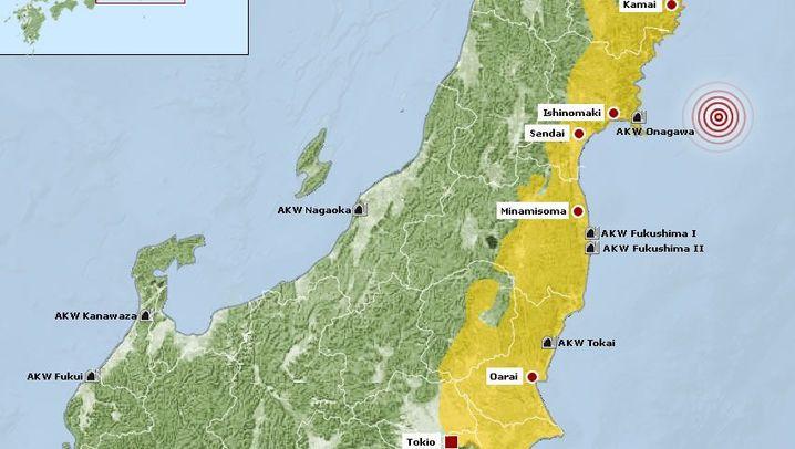 Karten: Betroffene Ostküste, Fukushima im Überblick