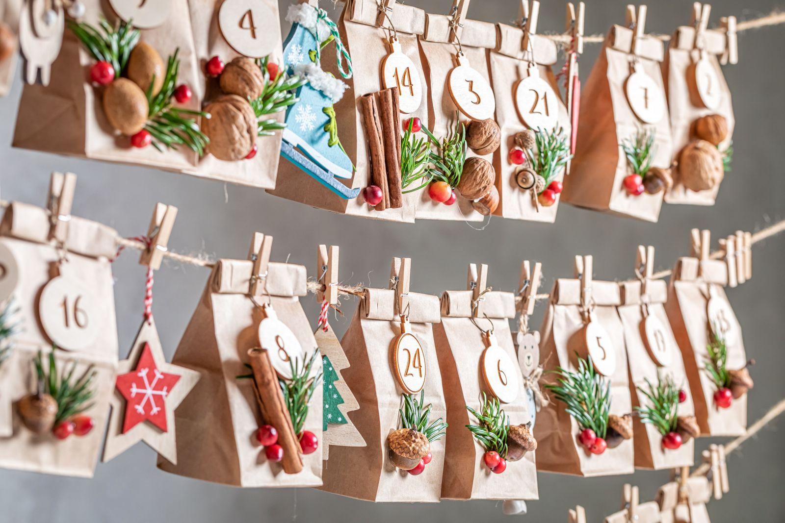 Original Advent Calendar for Christmas as countdown to Christmas Eve