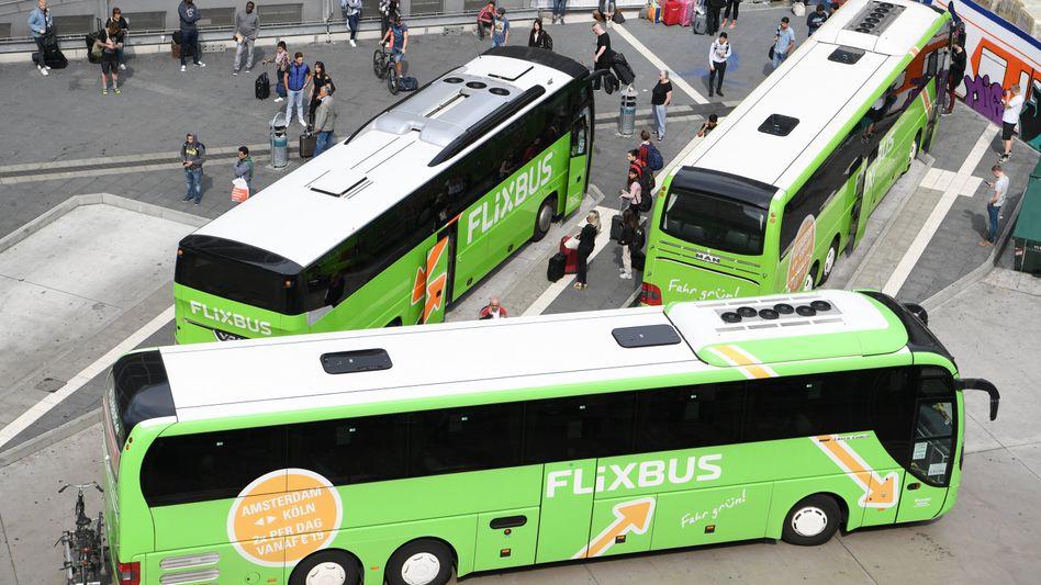FlixBus-Fahrzeuge in Frankfurt am Main (Archiv)