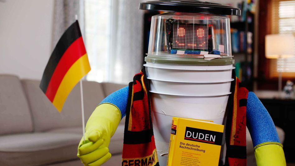 Charmantes LED-Lächeln: Der Hitchbot mit Deutschland-Flagge