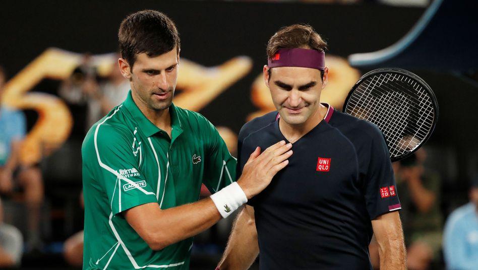 """Djokovic (l.) und Federer (r.): """"Natürlich ist er einer meiner beiden größten Rivalen"""""""