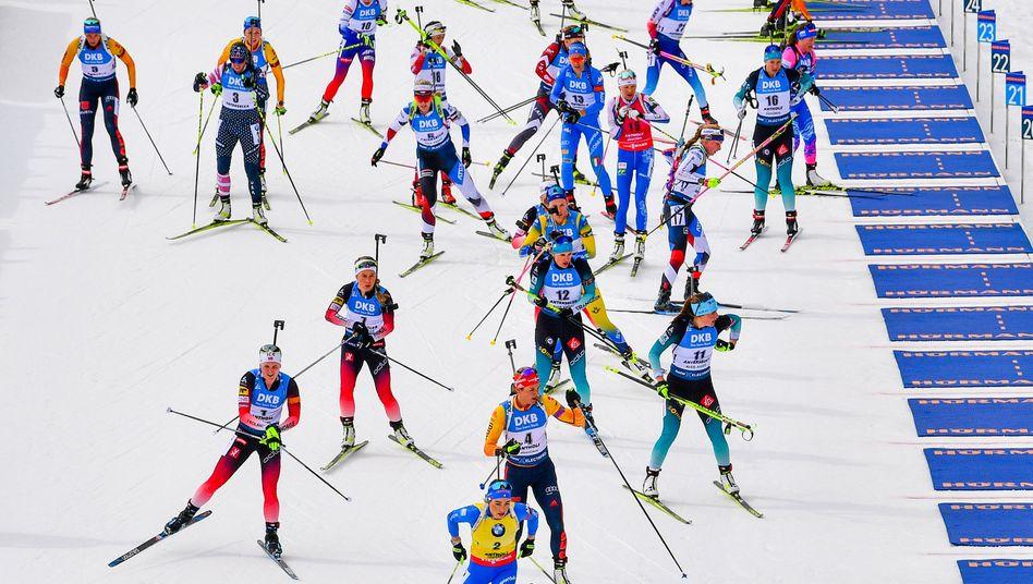 Szene während der Biathlon-WM in Antholz