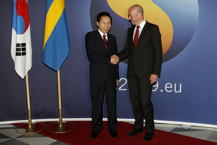 Südkoreas Präsident Lee, Schwedens Premier Reinfeldt: Erstes Freihandelsabkommen mit einem asiatischen Land