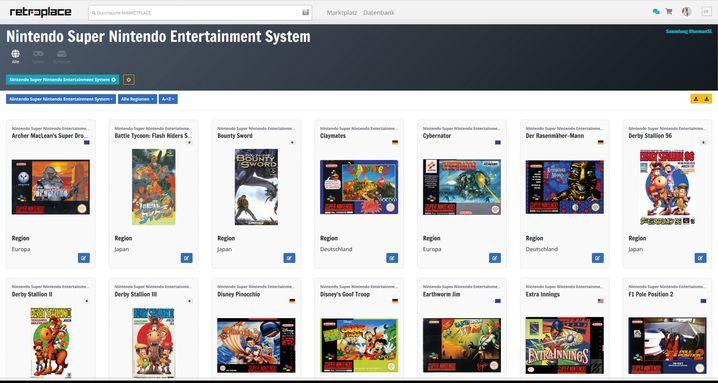 Auf Retroplace.com lassen sich Sammlungen anlegen, Spiele suchen und zum Verkauf anbieten