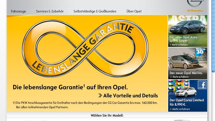 """Homepage: Die """"lebenslange Garantie"""" bewirbt Opel mit einem Unendlich-Symbol"""