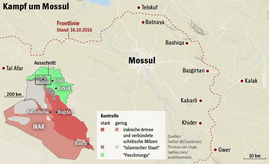 Karte Mossul Irak - Frontlinie 16.10.2016